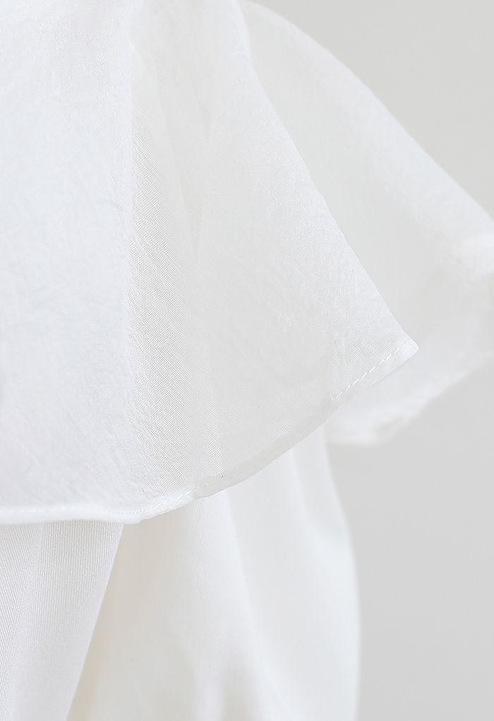 Organza Neck Cold-Shoulder Flap Dress