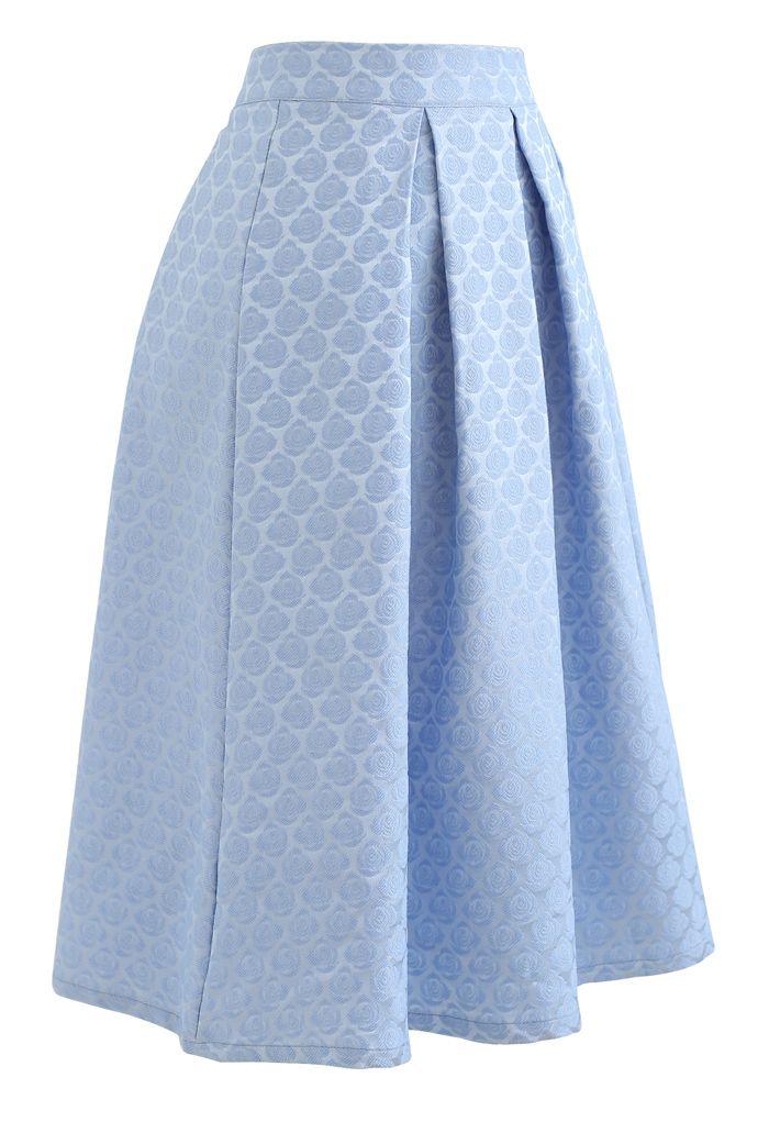 Embossed Rose Pleated Midi Skirt in Blue