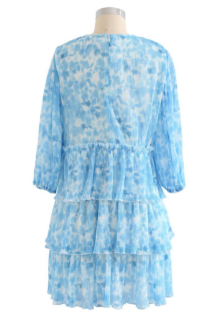 Pleated Tie-Dye Tiered Dolly Dress in Blue