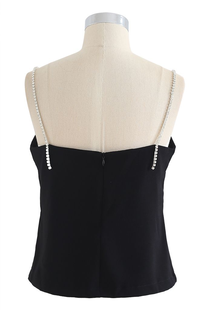 Crystal Straps Cami Tank Top in Black