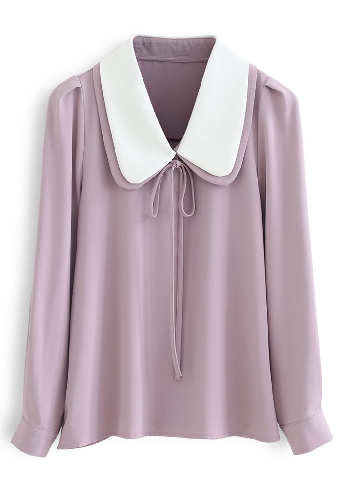 Double Collars Bowknot Shirt in Pink