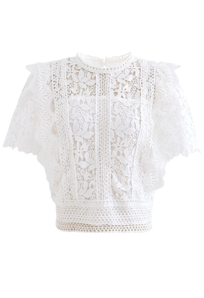 Lush Leaves Crochet Top in White