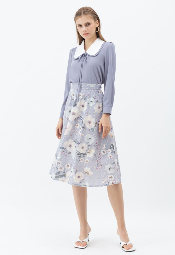 Double Collars Bowknot Shirt in Dusty Blue