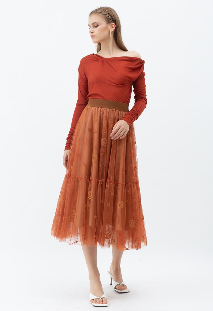 Universe Embroidery Mesh Tulle Skirt in Caramel