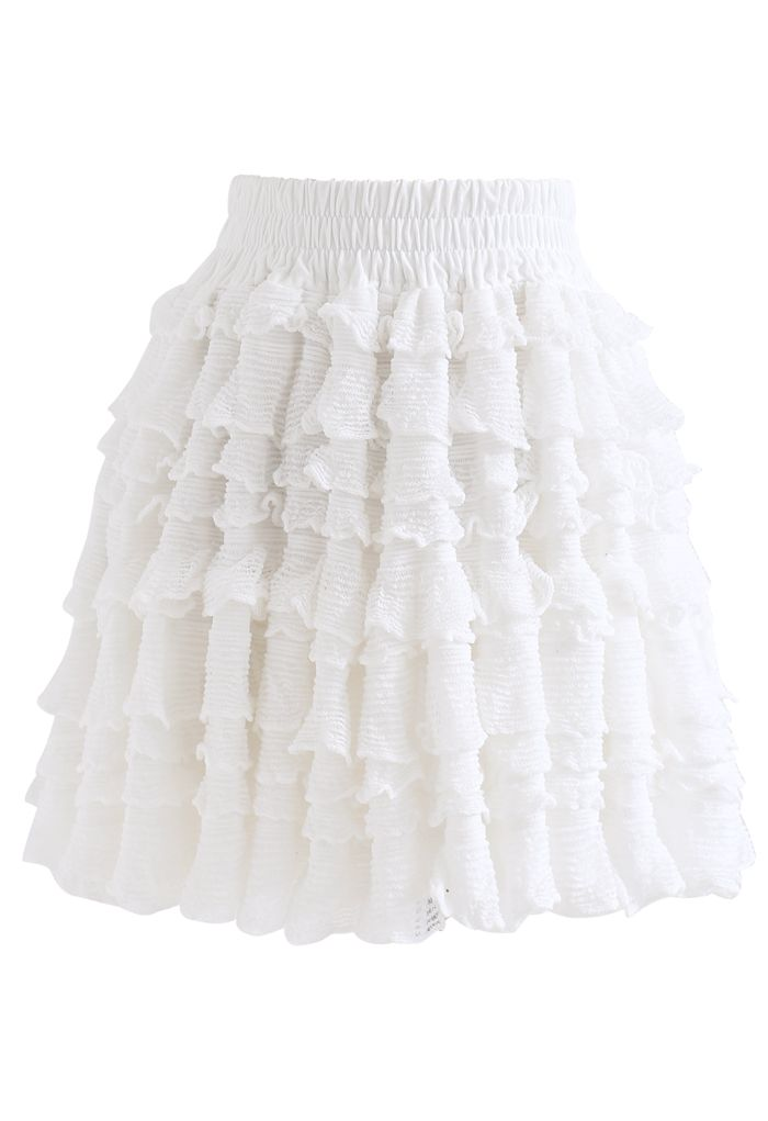 Tiered Ripple Padded Cardigan and Skirt Set in White