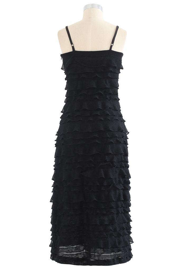Tiered Ripple Knit Cami Midi Dress in Black