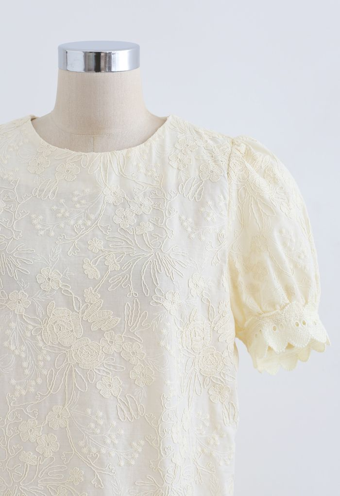 Delicate Floral Embroidered Short-Sleeve Top in Light Yellow