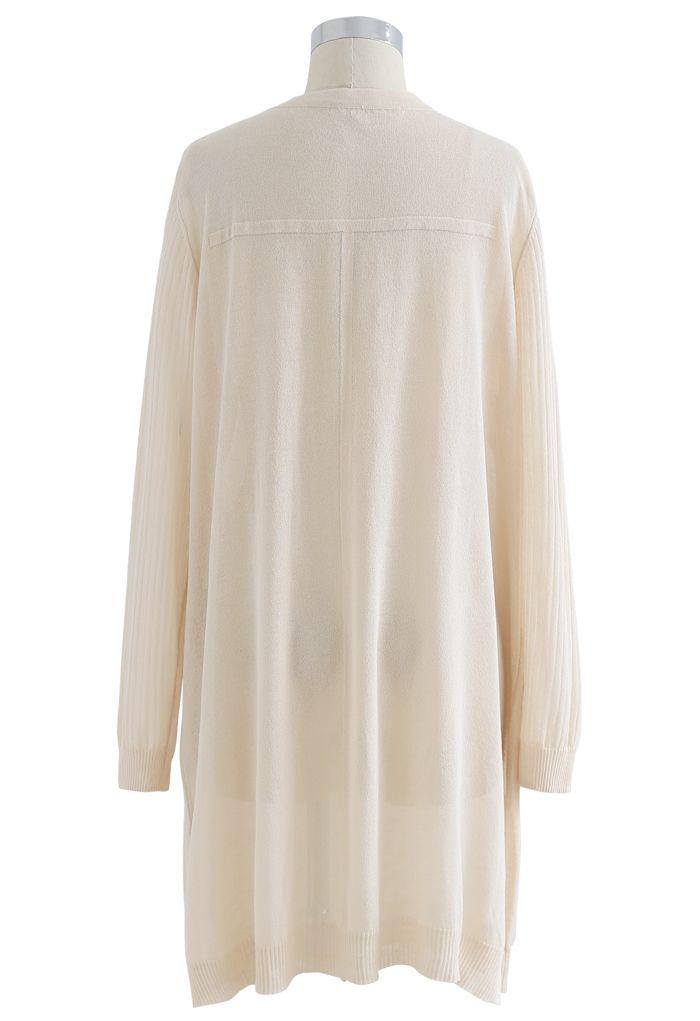 Lightsome Button Slit Hem Longline Cardigan in Cream