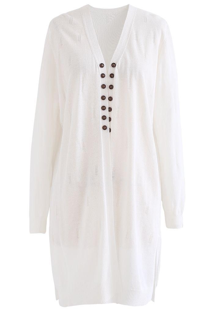 Lightsome Button Slit Hem Longline Cardigan in White