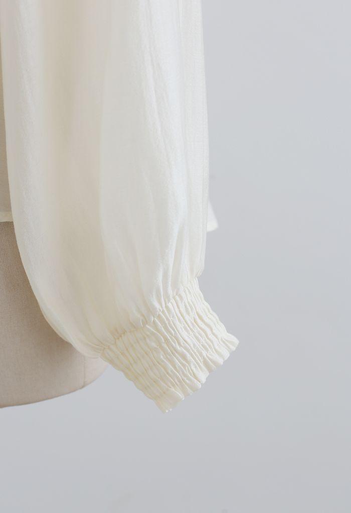Hi-Lo Hem Buttoned Semi-Sheer Top in Cream