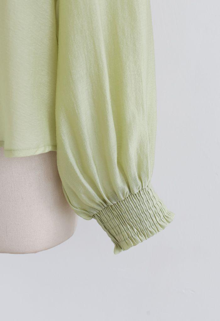 Hi-Lo Hem Buttoned Semi-Sheer Top in Moss Green