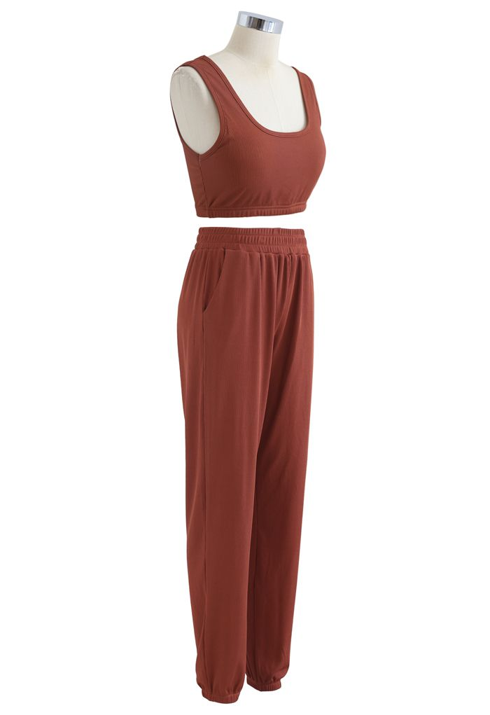 Soft Touch Cami Sports Bra and Joggers Set in Rust Red