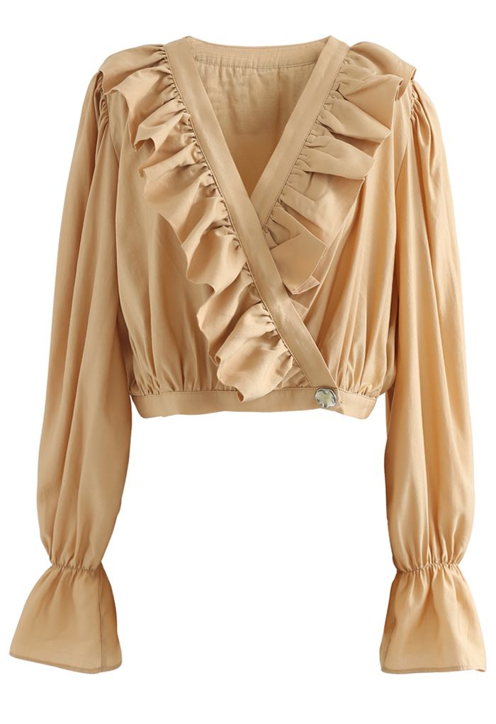 Buttoned Wrap Ruffle Crop Top in Apricot