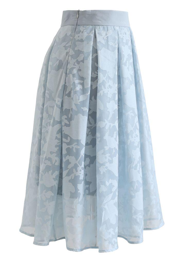 Flower Shadow Organza Pleated Skirt in Blue