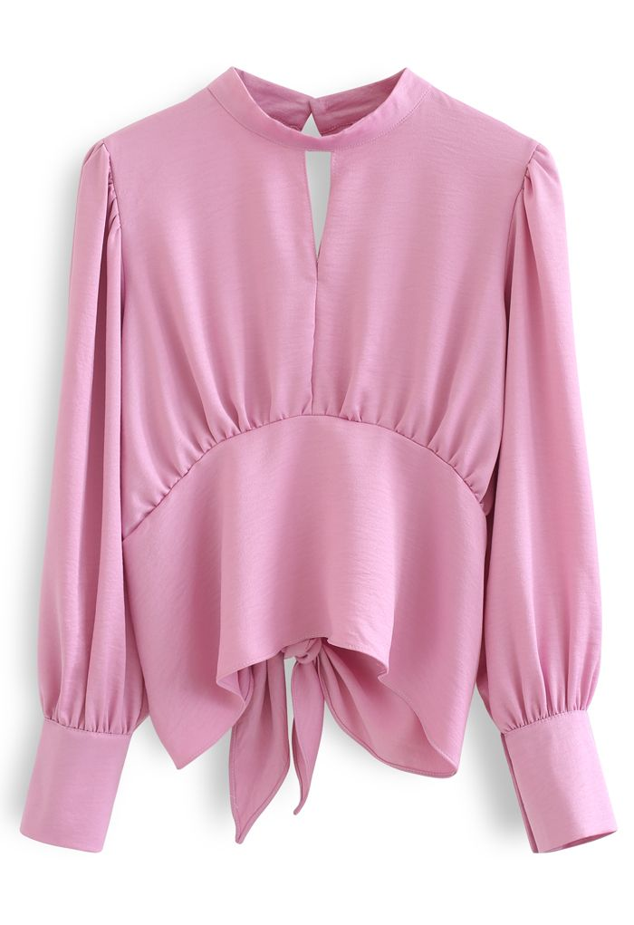 Knotted Waist Open Back Crop Top in Pink