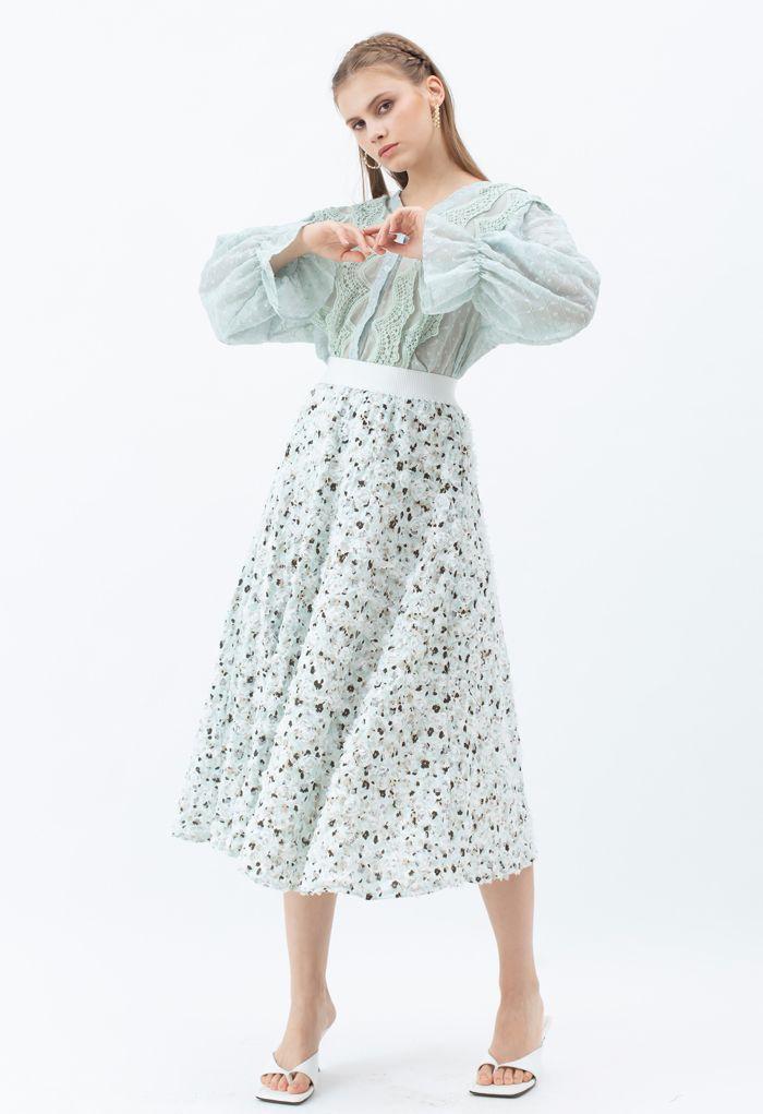 3D Applique Floral Print Midi Skirt in Mint