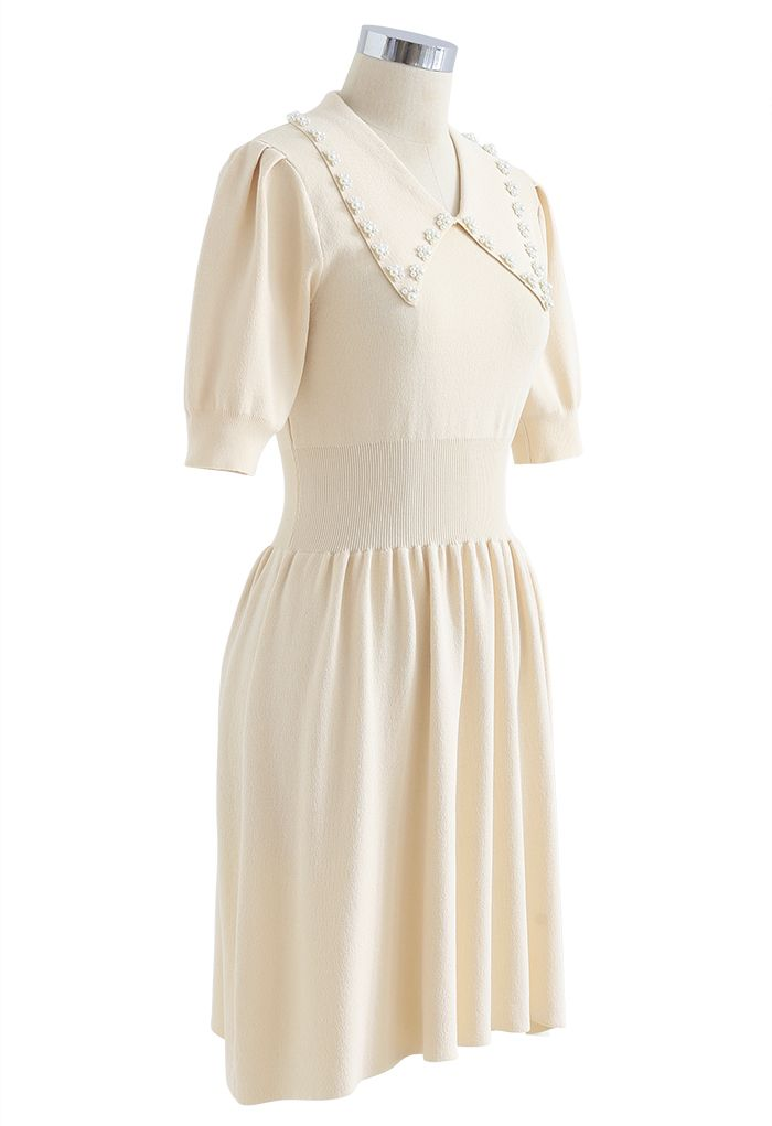 Pearly Collar Puff Sleeves Knit Skater Dress in Cream