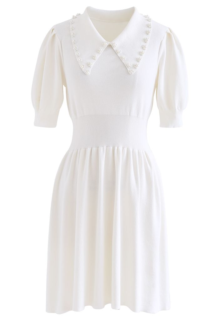 Pearly Collar Puff Sleeves Knit Skater Dress in White