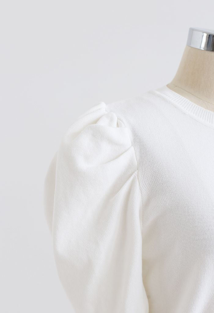 Bubble Short-Sleeve Knit Top in White