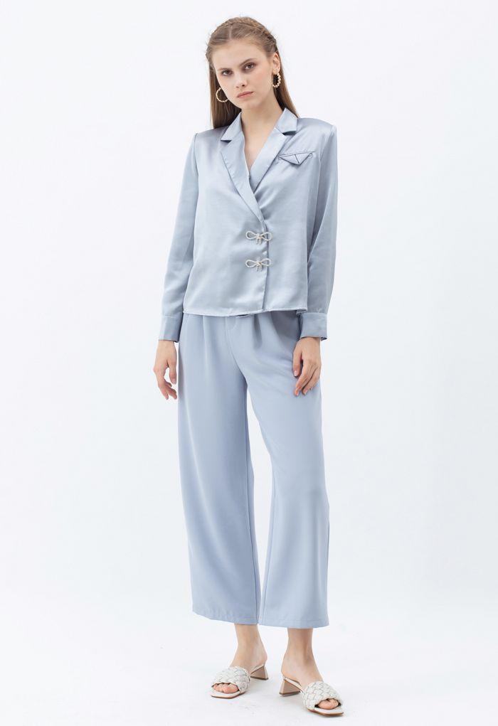 Buttoned Waist Straight Leg Pants in Dusty Blue
