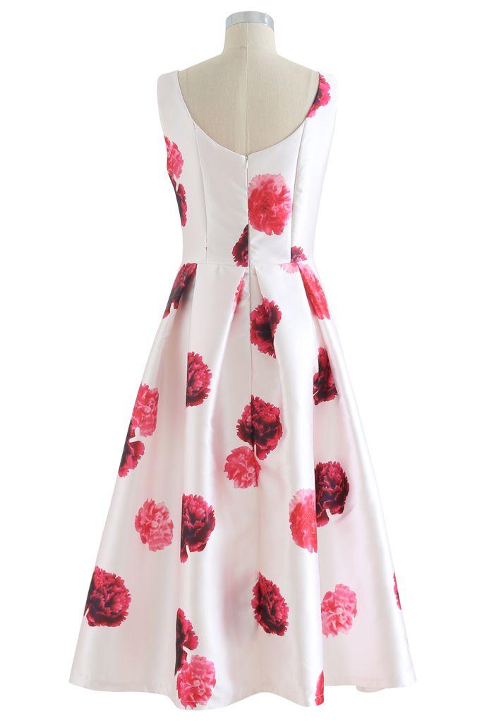 Carnation Printed Pleated Sleeveless Dress