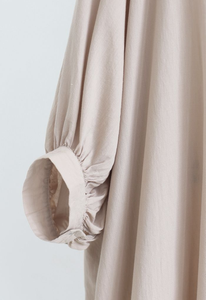 Breezy Bubble Sleeve Longline Shirt Dress in Tan