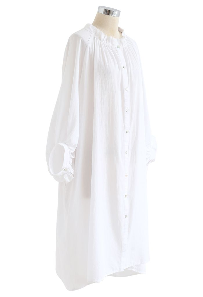 Breezy Bubble Sleeve Longline Shirt Dress in White