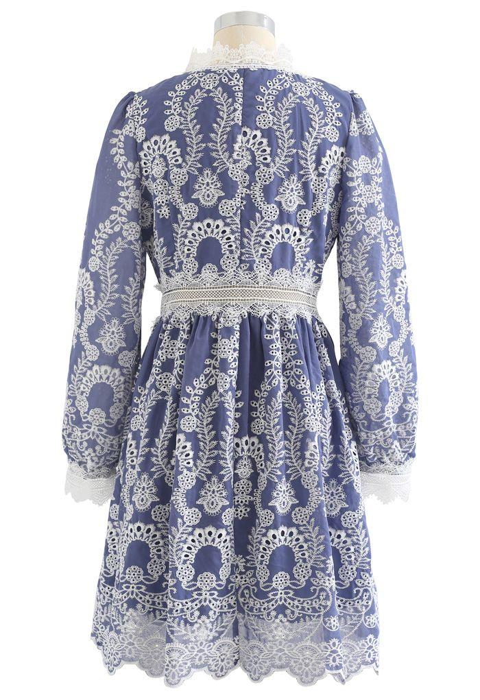 V-Neck Crochet Embroidered Dress