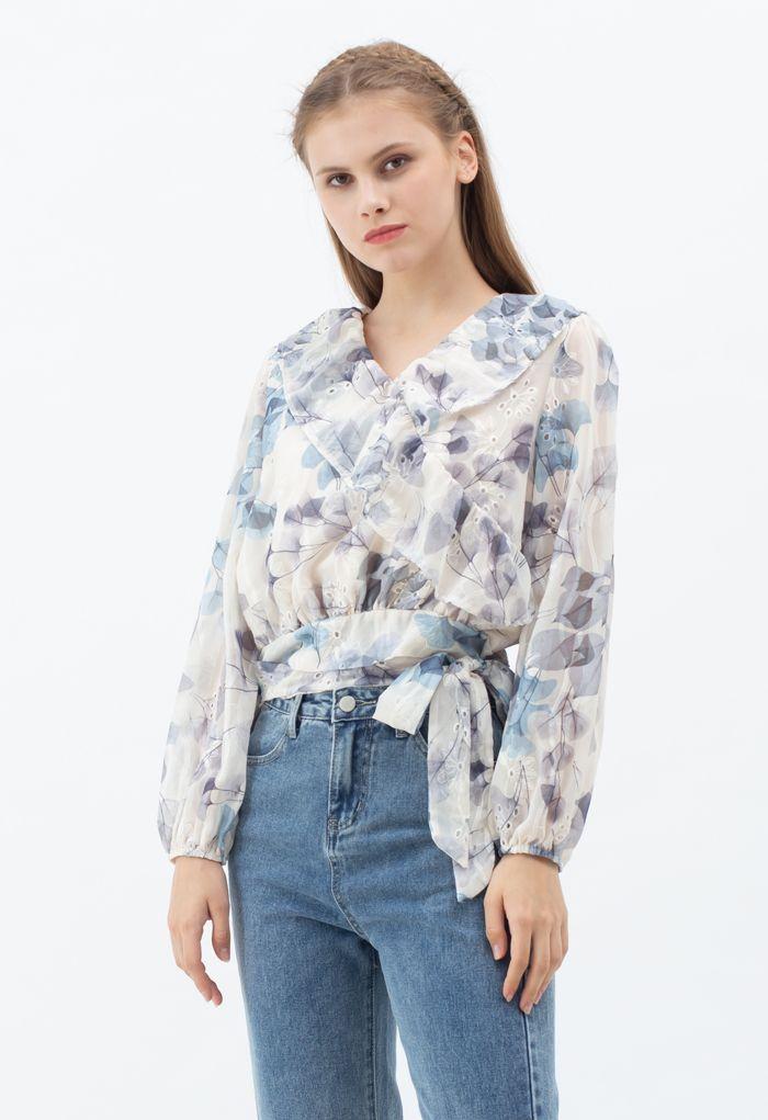 Flower Print Tie Waist Ruffle Semi-Sheer Top