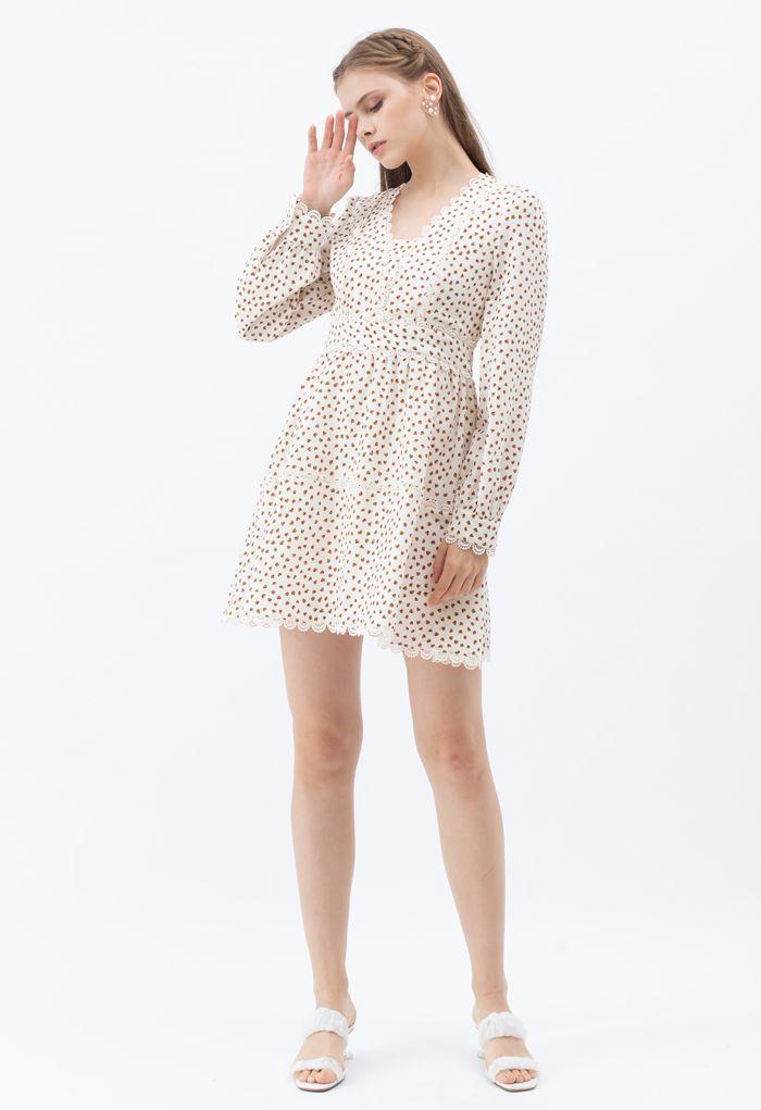 Mini Heart Printed Crochet Dress
