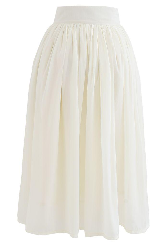 Bowknot Waist Chiffon Pleated Midi Skirt in Ivory