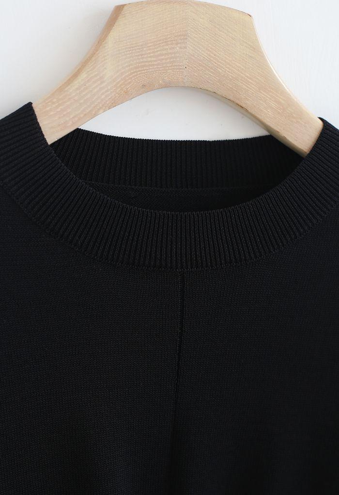 Twist Waist Cropped Rib Knit Top in Black