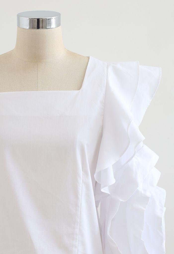 Crop top rosey à manches bulles en blanc