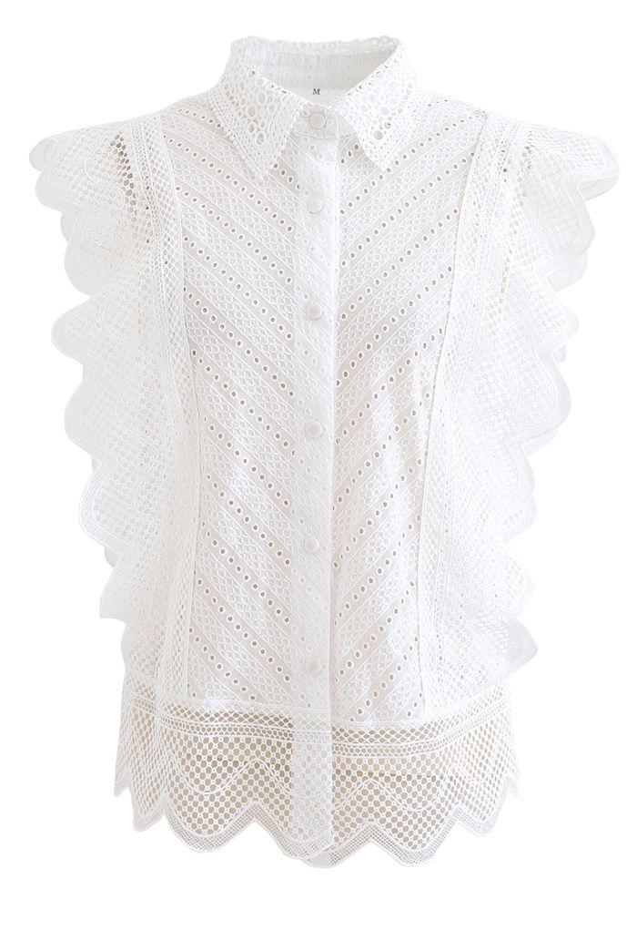 Chemise sans manches brodée à œillets en dentelle ondulée en blanc