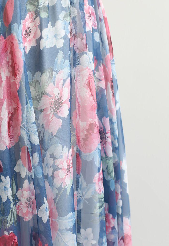 Jupe longue à imprimé pivoine Romantic Moment en bleu marine