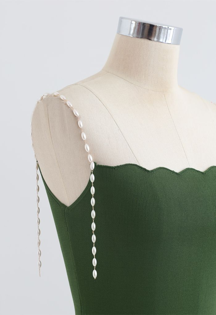 Robe nuisette moulante en tricot à bretelles et perles en vert