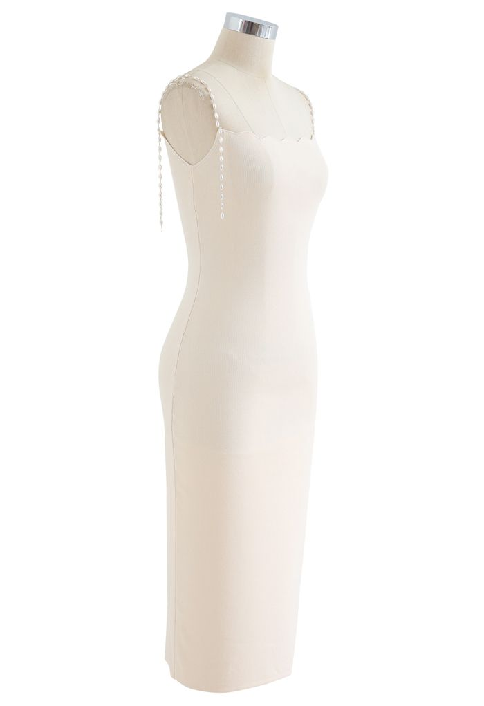 Robe nuisette en maille moulante à bretelles et perles en crème
