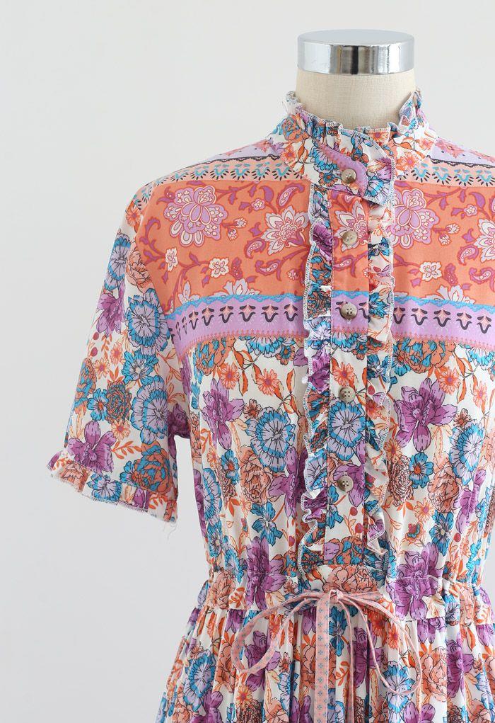 Robe maxi bohème boutonnée fleurie avec cordon de serrage à la taille en lilas