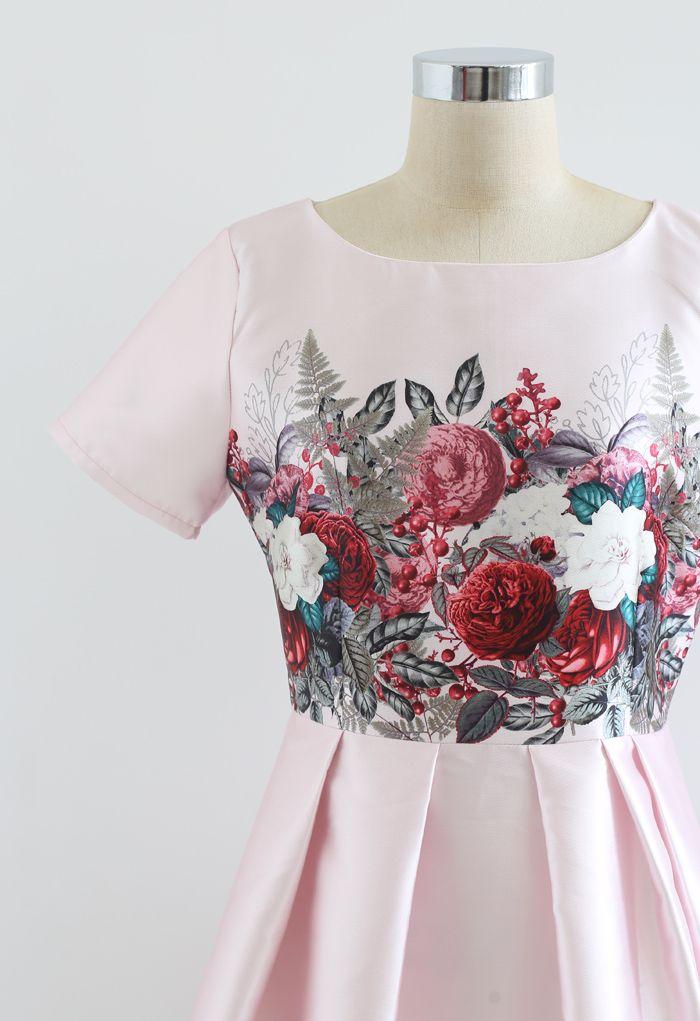 Robe plissée à manches courtes Florishing Flower