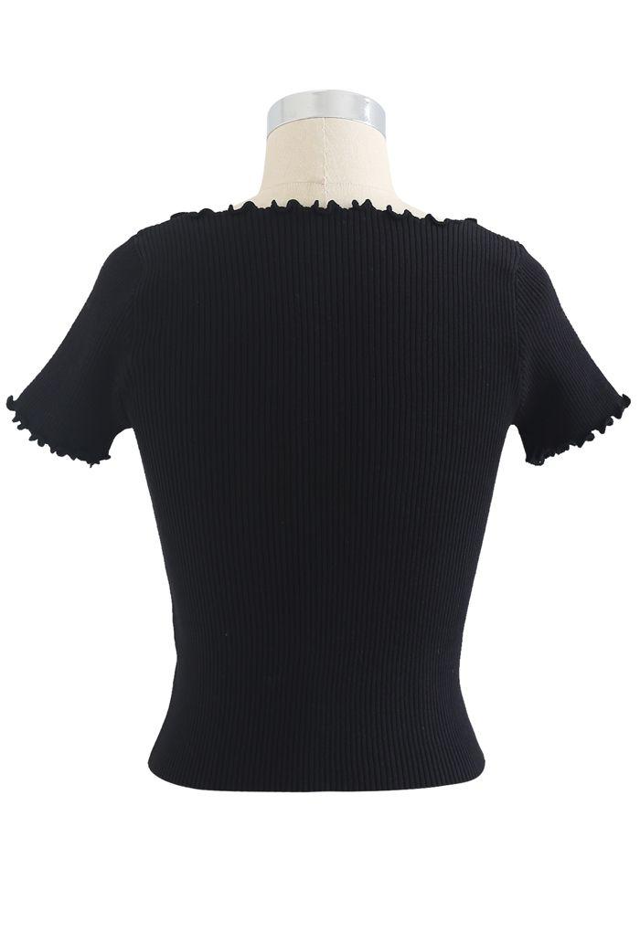 Top court en maille à lacets et bord de laitue en noir