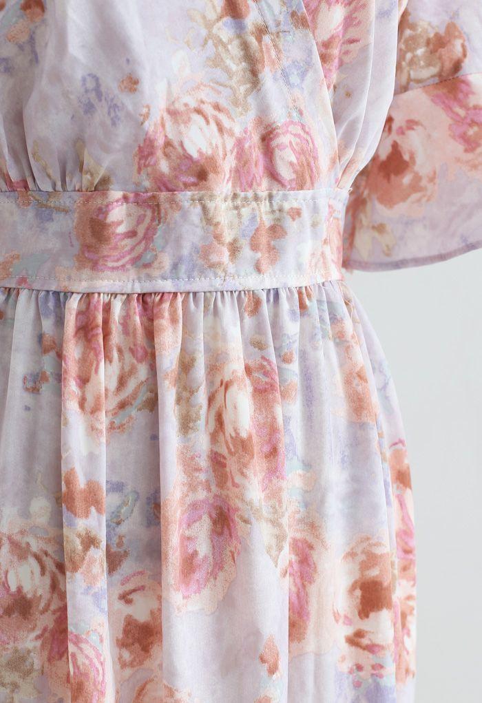 Robe longue rétro à volants enveloppée de roses en lilas