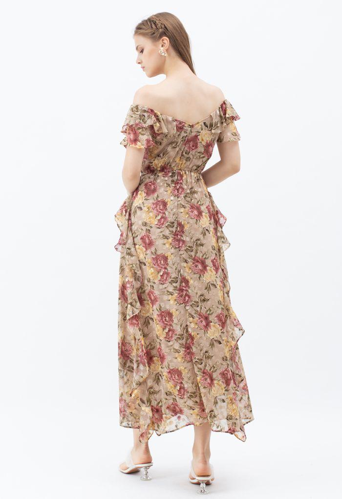 Robe maxi fleurie asymétrique à volants et épaules dénudées