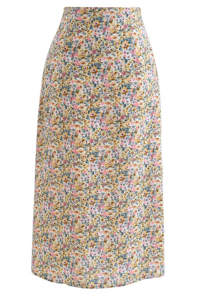 Jupe crayon en mousseline de soie à fleurs Ditsy en jaune