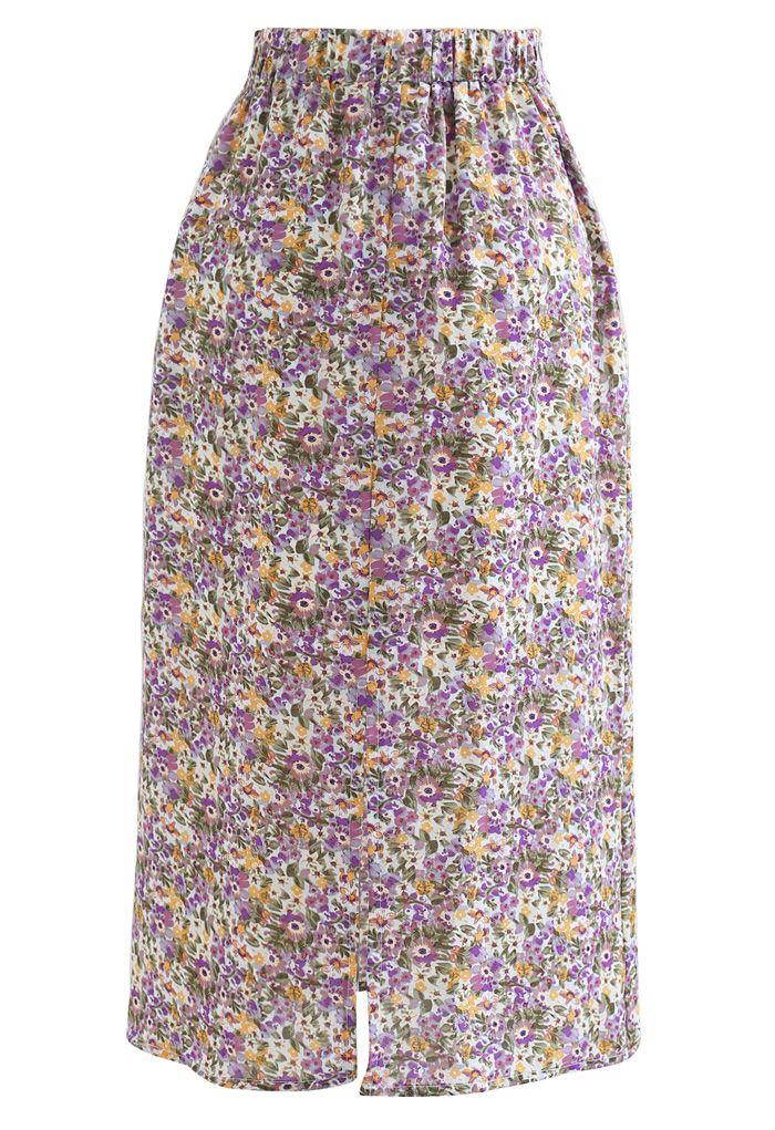Jupe crayon en chiffon à fleurs Ditsy en violet