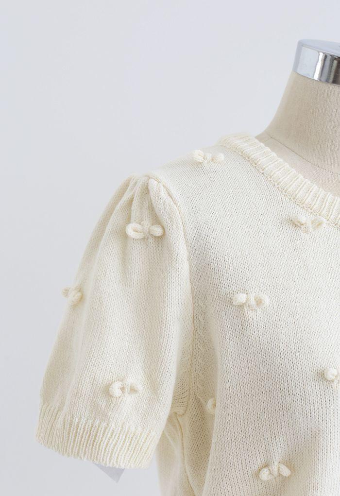 Cardigan en tricot boutonné à manches courtes Sweet Knot - Jaune clair