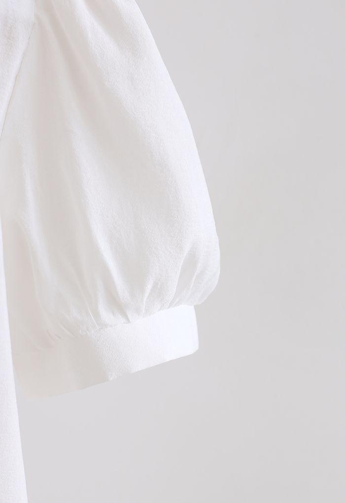 Haut à col et manches bouffantes Lightsome en blanc