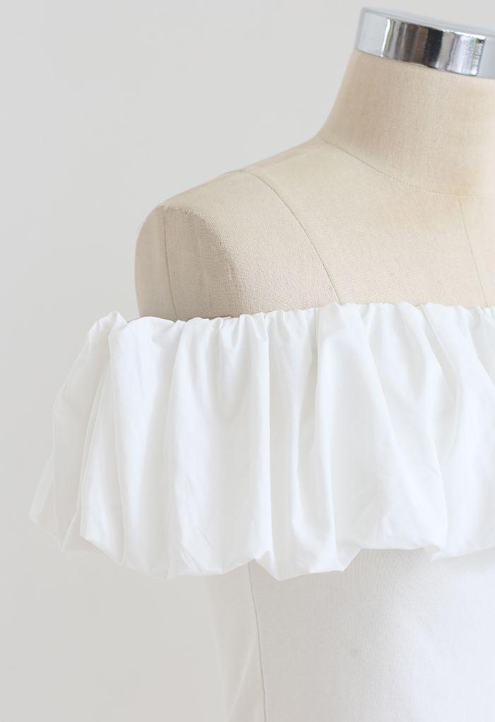Top court à épaules dénudées Bubble Cloud en blanc