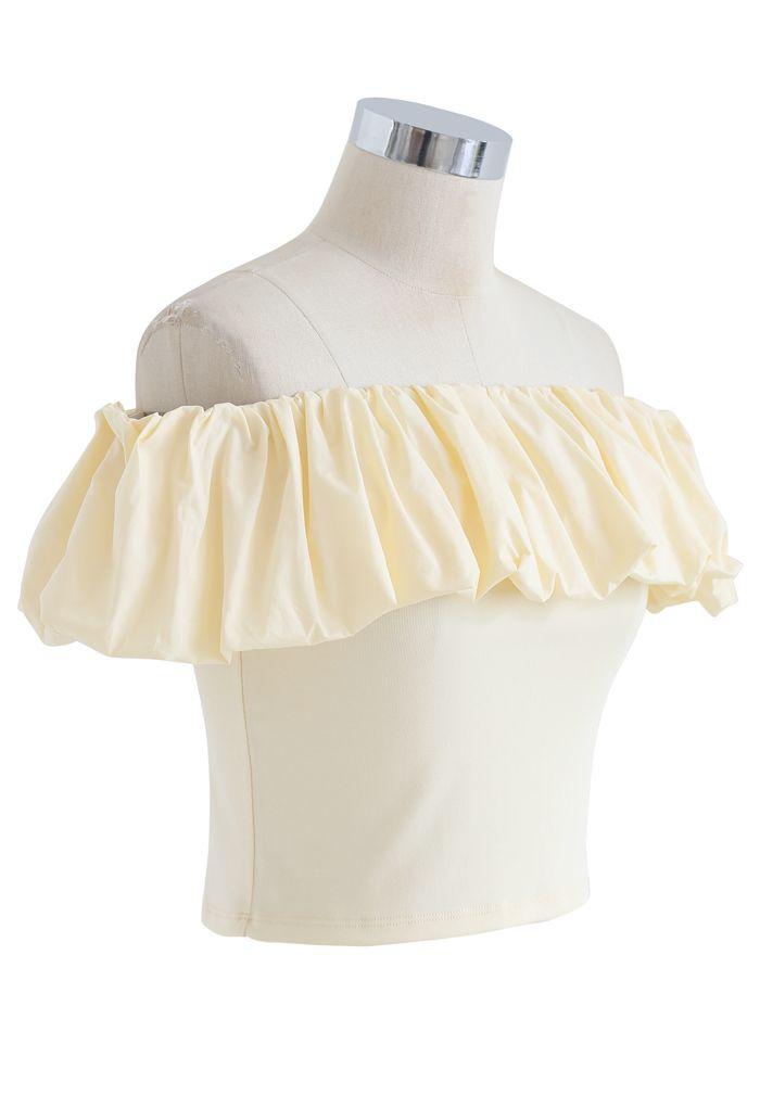 Crop top à épaules dénudées Bubble Cloud en jaune clair