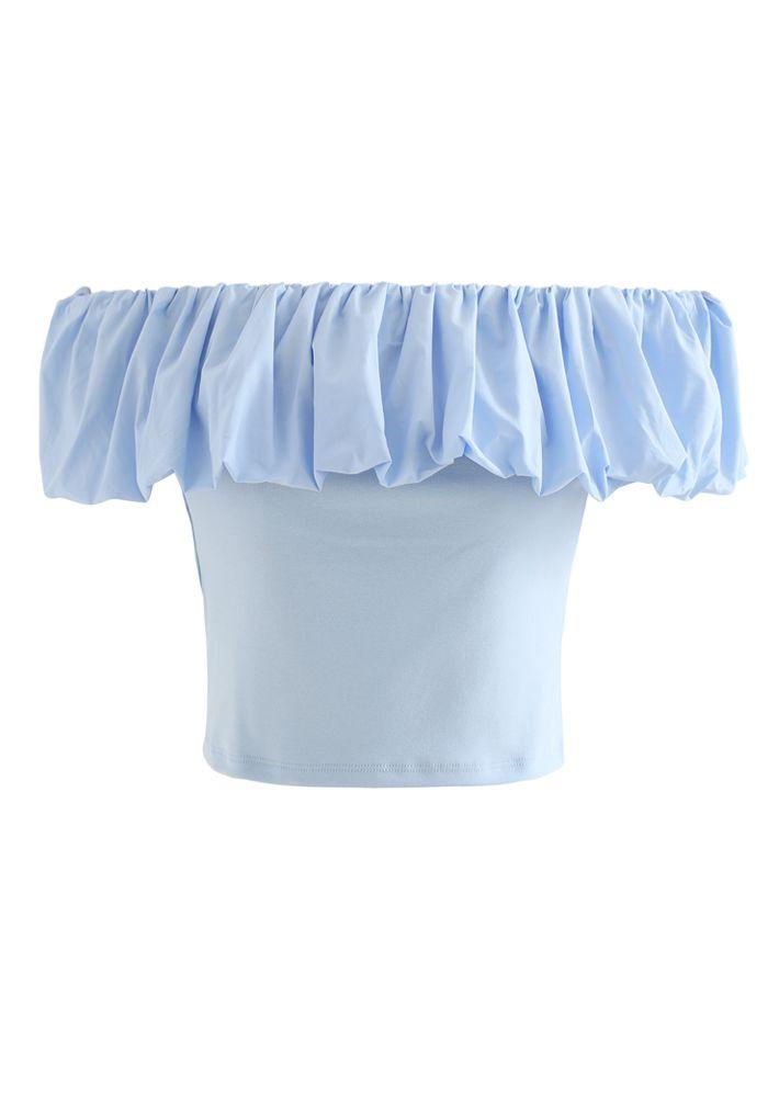 Top court à épaules dénudées Bubble Cloud en bleu