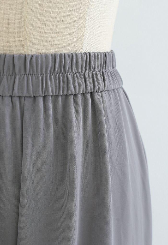 Pantalon droit taille élastique en gris